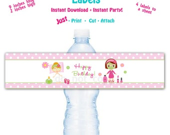 Printable Water Bottle Label  Printable Spa Water Bottle Label Spa Party