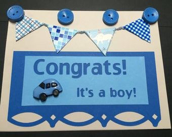 New Baby Card, Welcome Baby Card, Baby Boy, Fancy Baby Card