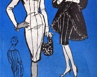 1950s Vintage Sewing Pattern B38 WIGGLE DRESS & COAT (R758) By Mr Blackwell A548