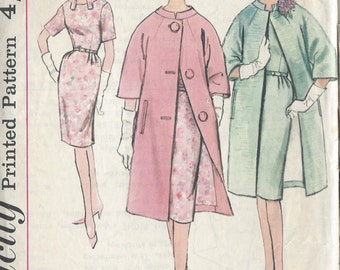 "1950s Vintage Sewing Pattern B34"" DRESS & COAT (R711)  Simplicity 4355"