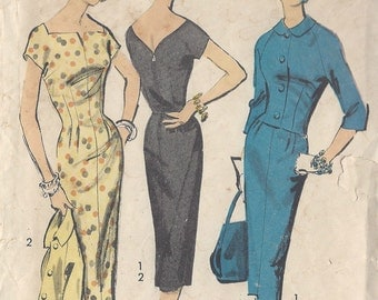 "1950s Vintage Sewing Pattern DRESS & JACKET B38"" (231) Advance 8678"