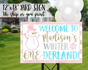 Winter Onederland Sign, Winter Onederland Yard Sign, Winter 1st Birthday Sign, Winter Onederland Birthday, Onederland Welcome Sign