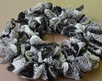 Ruffle Scarf-Black, White, and Grey