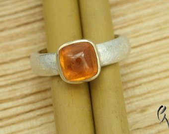Ring silver with Mandarin Garnet rose gold version, handmade