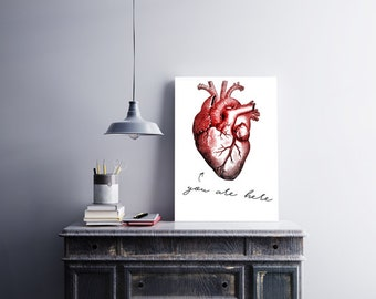 You Are Here  Anatomical Heart Poster Printable love heart anatomy Printable wall art Science cardiology love