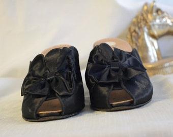 Black Satin Boudoir heel