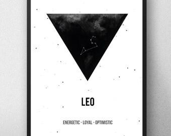 Printable artwork , Leo Zodiac Print, Printable astrology , Leo Zodiac Sign , Zodiac Art, Astrology Print , watercolor artwork , Geometric