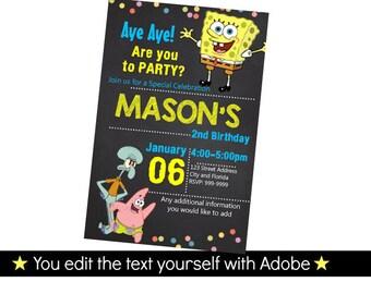 Spongebob Invitation - Spongebob Birthday Invitation - Printable birthday party invite - INSTANT PDF DOWNLOAD