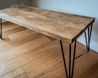 Rustic Solid Wood Coffee Table with 3 Prong 30cm Metal Hairpin Legs