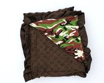 Brown Camo Baby Minky Blanket