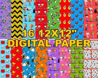 "Peanuts - Charlie Brown and Snoopy - Digital Paper - 16 jpeg files 12x12"" 300 dpi"