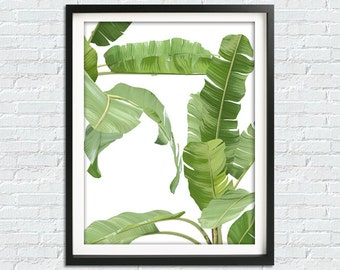 Banana Leaf Print, Tropical Leaf Print, Banana Leaves, Tropical Print, Palm Wall Decor, Tropical Wall Art, Beach Decor, Botanical Print