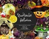Halloween Clip Art Watercolor Hand-Painted Clip Art Black Green Orange Yellow Pumpkin Caldron Potion Bat Lemon Teapot Illustration DIY Pack