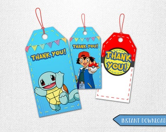 Pokemon tags, Pokemon thank you tags, Pokemon favor tags, Pokemon party favor!