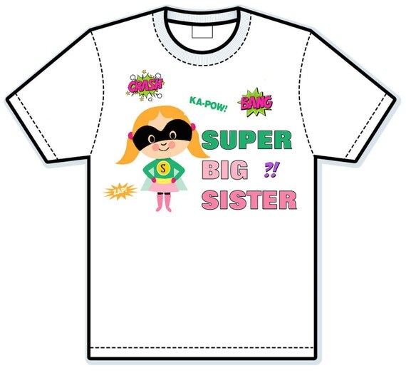 Super Hero big sister Children's hand Painted Shirts