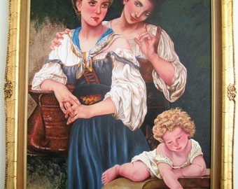 Large Original acrylic painting on canvas Mother & Daughter with frame
