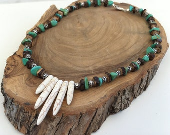 Semi-preciouse white spike turquoise necklace