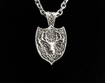 Large Handcast 925 Sterling Silver Heavyweight Irish Celtic Stag / Deer Pendant + Free Chain