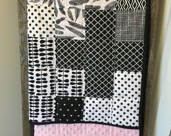 Modern Baby Quilt, Black Baby Quilt, Pink Quilt