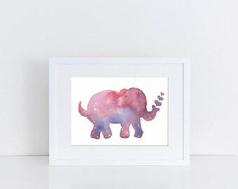 Watercolor Elephant, Purple Watercolor Elephant with Hearts, A5, Original Watercolor Elephant Painting, Nursery Decor, Baby Decor
