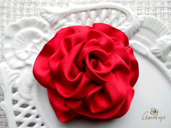 Castle Red Rose Fabric Brooch, Wedding Hair Flower, Bridesmaid, Bridal Prom Flower, Corsage, Rustic destination wedding, everlasting flower