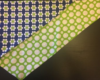 Blue Friday Flowers Double Sided Dog Bandana