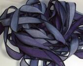 "1PC. STARRY NIGHT 42"" hand dyed wrist wrap bracelet silk ribbon//Yoga wrist wrap bracelet ribbons//Hand dyed Boho Silk wrist wrap ribbon"