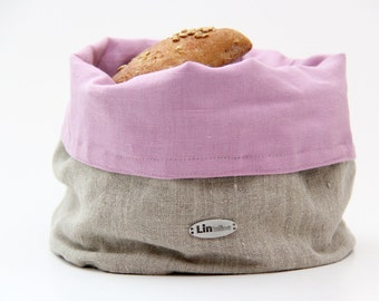 MISTY ROSE linen basket