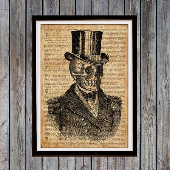 Gothic Home Decor Human Skull Print Human Anatomy Art Medical