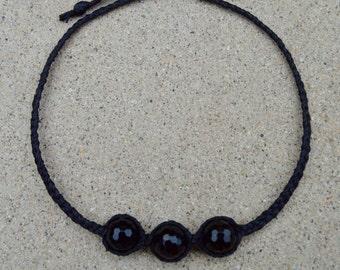 Braided linen cord necklace with faceted Onyx gemstones