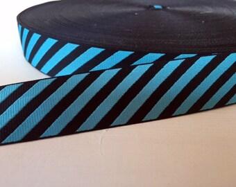 "7/8"" (23mm) blue and navy diagonal stripes ribbon"
