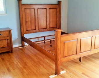 Headboard, Footboard, Nightstand, Dresser. Amish Bedroom Suite Quarter Sawn White Oak Queen Set