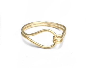 Gold Loop and Hook Ring