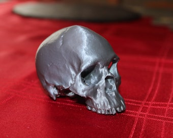 Miniature Human Skull, highly detailed and 3D Printed, available in a range of colours.