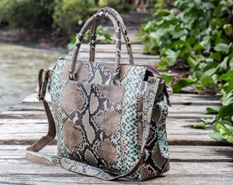 Genuine python bag / Multicolor python bag / Women's leather bag / Brown leather bag / Luxury bag / Python bag