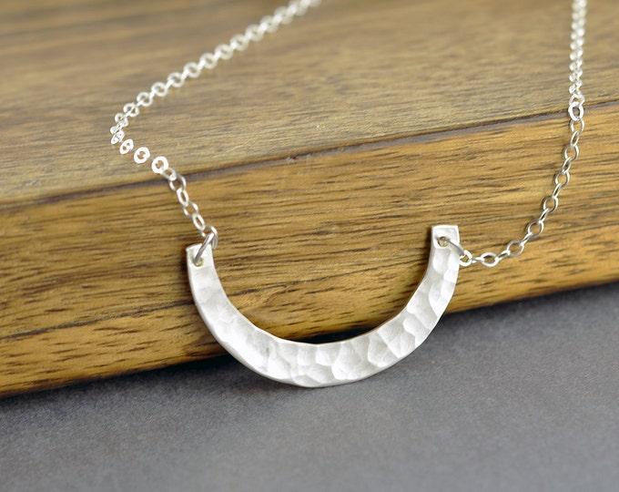 U Necklace - Silver Curve Necklace - U Shape Necklace - Sterling Layering Pendant - Silver Crescent Pendant - Minimalist Jewelry