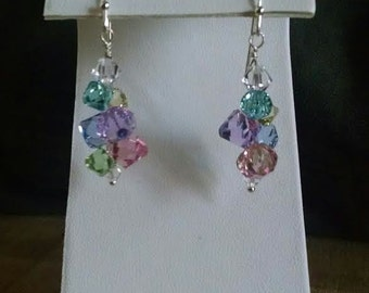 swarovski dangle earring with colorful crystals