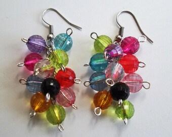 Multicolour cluster silver earrings