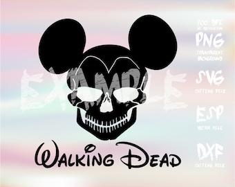 Mickey Skull Walking dead ,clipart,SVG,PNG 300dpi ,ESP vector