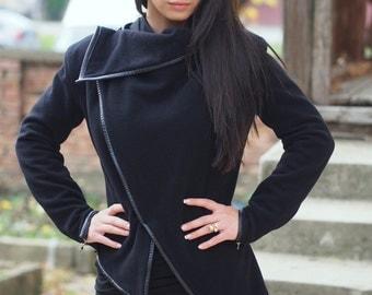 Black Asymmetric coat/cashmeere Coat/Asymmetric Extravagant Black Coat/cashmeere trench/black cashmeere jacket