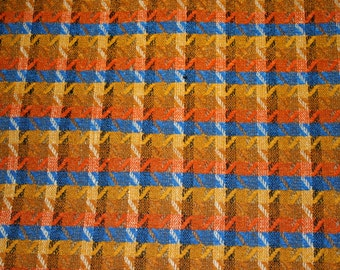 Orange and Blue Checked Retro Fabric sold by yard
