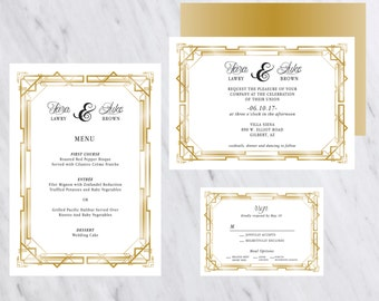 Great Gatsby Invitation, Gold, Wedding Invitation, Formal Wedding Invitation, Art Deco, Wedding Invitation, Digital Printable Invitation