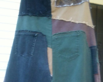 Recycled Patchwork Denim Skirt