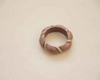 wood and bronze bangle