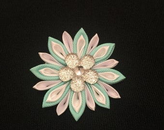 Mint Green and White Flower Hair Clip - Kanzashi Flower - Girls Hair Clip- Mint Green and White Hair Accessory