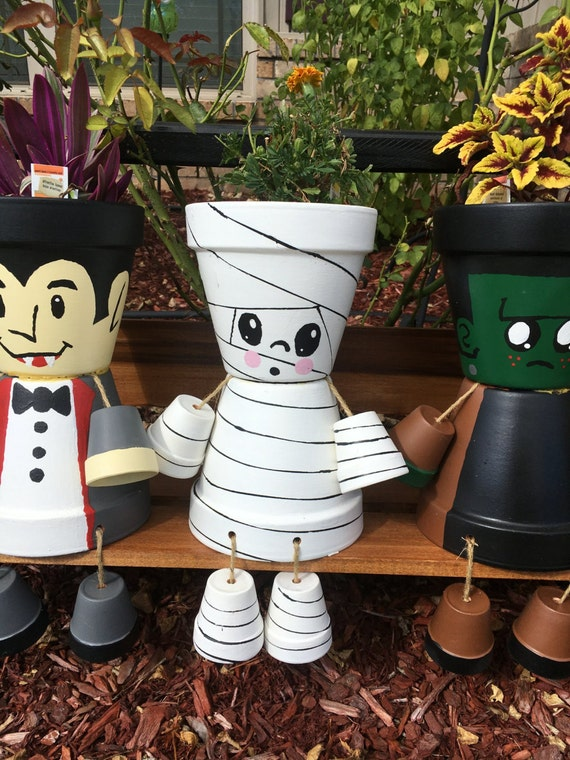 items similar to misfit mummy flower pot on etsy. Black Bedroom Furniture Sets. Home Design Ideas