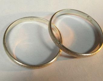 Set of 2 Vintage Sterling Silver Bangles