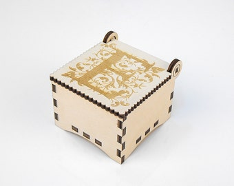 Wooden box, Small Secret Wood Box, (Engraved Letters - E), Gift Box With Lid, Jewelry box, Memory box
