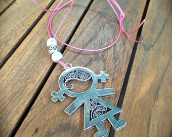 Pink leather necklace with pendant Child