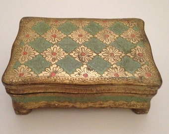 Vintage Gilt Italian Florentine Hinged and Footed Trinket Box - Green, Gold, and Orange